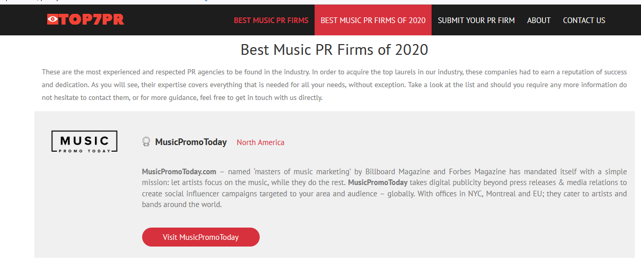 The most professional resources are in Musicpromotoday new York